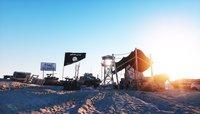 ISIS flag on terrorist headquarters. Desert landscape. Terrorism concept. 3d rendering