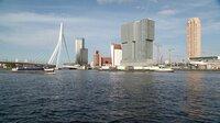 """Blick auf Rotterdam, das """"Manhattan an der Maas""""; links die Erasmusbrücke."""