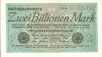 """""""Hyperinflation"""": Im November 1923 erreicht die Inflation in Deutschland ihren Höhepunkt. Der Schein weist eine unglaubliche Summe aus. Wenig später wird die """"Rentenmark"""" eingeführt - im Verhältnis eins zu einer Billion."""