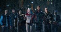 L-R: Diablo (Jay Hernandez); George Harkness / Captain Boomerang (Jai Courtney); Killer Croc (Adewale Akinnuoye-Agbaje); Harley Quinn (Margot Robbie); Deadshot (Will Smith); Rick Flag (Joel Kinnaman); Katana (Karen Fukuhara)