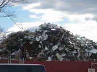 "New York, New York, USA - Exterior of scrapyard ""GERSHOW""."