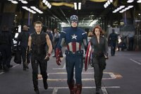 ?Marvel's The Avengers?..L to R: Hawkeye (Jeremy Renner), Captain America (Chris Evans) & Black Widow (Scarlett Johansson)..Ph: Zade Rosenthal  ..© 2011 MVLFFLLC.  TM & © 2011 Marvel.  All Rights Reserved.
