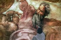 Zu Michelangelos Deckenmalereien in der Sixtinischen Kapelle zählt auch dieses Bildnis des Gottvaters.