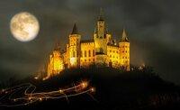 Adventszauber: Die beleuchtete Burg Hohenzollern im Mondlicht.