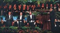 L-R: Placido Domingo, José Carreras and Luciano Pavarottiat Dodgers Stadium in Los Angeles, with conductor Zubin Meht