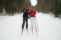 Checker Can mit Biathlon-Olympiasiegerin Kati Wilhelm
