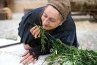 Fee Kräuterweis (Mechthild Großmann) sucht am Marktstand nach frischen Kräutern.