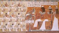 Picture shows_Extraordinary painted wall in Qubbet el-Hawa north tomb.  Constructed for a mayor of Elephantine around 3500 years ago. It depicts members of his family. Qubbet el-Hawa, Aswan, Southern Egypt