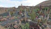 Blick auf den Kaktusgarten von César Manrique. Der spanische Maler, Architekt, Bildhauer und Umweltschützer hat das Bild der Vulkaninsel Lanzarote entscheidend geprägt.