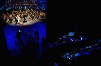 Eigens für diesen Film haben die Wiener Symphoniker mit Solisten wie Piotr Beczala (vorne li.) und Camilla Nylund (vorne re.) unter der Leitung von Dirigent Manfred Honeck (vorne Mi.) ein Best-of aus Lehárs Werk im Theater an der Wien eingespielt.