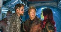 Dave Bautista (Drax), Chris Hemsworth (Thor), Chris Pratt (Peter Quill / Star-Lord), Zoe Saldana (Gamora).