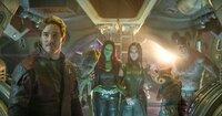 Chris Pratt (Peter Quill / Star-Lord), Groot, Zoe Saldana (Gamora), Pom Klementieff (Mantis), Rocket, Dave Bautista (Drax).