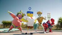 Bereit zum Angriff: (v.l.n.r.) Patrick, Spongebob, Thaddäus und Mr. Krabs kämpfen jenseits des Ozeans gegen den fiesen Piraten, um das Geheimrezept zurückzuerobern ...