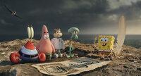 Plötzlich auf der Pelikan-Insel gestrandet: (v.l.n.r.) Mr. Krabs, Patrick, Sandy Cheeks, Thaddäus und Spongebob im Kampf gegen den fiesen Piraten Burger-Bart ...