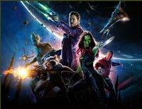 Groot, Rocket, Peter Quill (Chris Pratt), Gamora (Zoe Saldana), Drax, der Zerstörer (Dave Bautista).