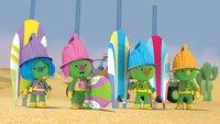 Die Doozer wollen im Wüstensand surfen.