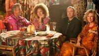 Bernie und Roz Focker (Dustin Hoffman, li.; Barbra Streisand) und die Byrnes (Robert de Niro, Blythe Danner)