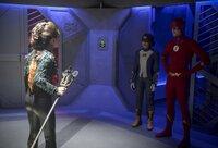 Reina Hardesty (Weather Witch), Jessica Parker Kennedy (Nora West-Allen), Grant Gustin (Barry Allen)