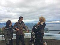 V.l.: Regina (34), Torben (36) mit Jette (38) und Bianca (44) am Bodensee.
