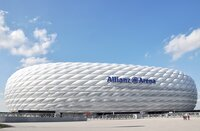 MUNICH, GERMANY - 12 APRIL 2016: Allianz Arena stadium in Munich, Germany. The Allianz Arena is home football stadium for FC Bayern Munich with a 69,901 seating capacity.