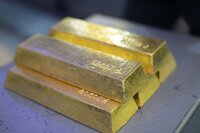 WARSAW, POLAND - Each bar of gold weighs 27.5 pounds (12.5 KG) and is worth approximately half a million US dollars.