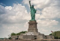 The Statue of Liberty from ferry boat, New York, USA.