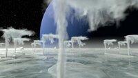Stickstoff-Geysire schießen aus der eisigen Oberfläche des Neptunmondes Triton.