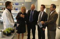 Pictured: (l-r) Dean Berry (Bradley Whitford),  Natalie Teeger (Traylor Howard), Capt. Leland Stottlemeyer (Ted Levine), Lt. Randall Disher (Jason Gray-Stanford), Adrian Monk  (Tony Shalhoub)