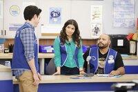 "-- ""Rebranding"" Episode 212 -- Pictured: (l-r) Ben Feldman as Jonah, America Ferrera as Amy, Colton Dunn as Garrett -- (Photo by: Trae Patton/NBC)"