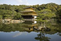 Golden Pavilion (Kinkaku-ji) , a gilded three-storied reliquary hall, is situated at the margin of a large pond named Kyokochi Pond. It is typical architecture of the Muromachi Period (1333 - 1573).
