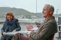 Ulrich Tukur mit Regisseurin Eva Gerberding in Banyuls-sur-Mer