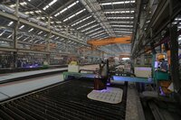 Assembly shed with plasma cutter in the Sungdong shipyard.