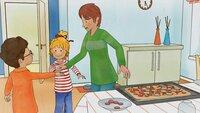 Mama hilft Conni und Simon beim Pizzabacken - die 3 sind ein perfektes Team.