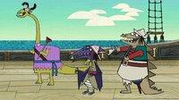 Die Dino-Piraten Dippy, Terry und Stöcki (v.l.n.r.) haben sich wie die Besatzung der Walnuss verkleidet und führen Böses im Schilde.