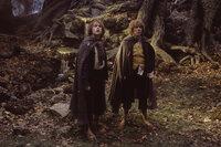 In den Wäldern von Emyn Muil treffen Sam (Sean Astin, r.) und Frodo (Elijah Wood, l.) auf den geheimnisvollen Gollum ...