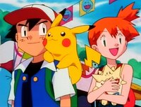 Unsere Freunde kommen in eine Stadt in der jeder Einwohner ein Woingenau besitzt...(v.li.n.re: Ash, Pikachu, Misty)