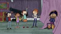 So sahen Tom, Ruby, Wilma und Flinn (v.l.n.r.) aus, als sie Stoppelkinn zum ersten Mal auf einem Piratenschiff begegneten: wie ganz normale Kinder.