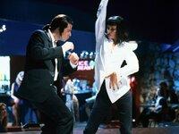 John Travolta (Vincent Vega), Uma Thurman (Mia).