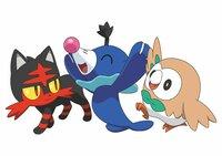 Robball, Bauz und Flamiau (v.l.n.r.) sind die niedlichen Starter-Pokémons der Staffel. Sie basieren auf einem Kauz, einer Katze, sowie auf einem Seelöwen.