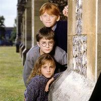 Werden schon im ersten Jahr auf der Zauberschule Hogwarts zu ganz dicken Freunden: Ron (Rupert Grint, oben), Harry Potter (Daniel Radcliff, M.) und Hermione (Emma Watson, unten) ...
