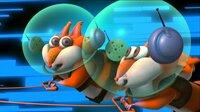 Professor Gehirnkopf und seine Hamster-Mutter haben die Alien-Eichhörnchen Fuzzy und Squeaky (Bild) angeheuert, um die galaktischen Superhelden ein für alle Mal aus dem Verkehr zu ziehen.