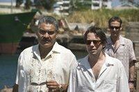 L-R: General Medrano (Joaquín Cosio), Dominic Greene (Mathieu Amalric), Elvis (Anatole Taubman)