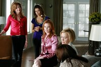 """DESPERATE HOUSEWIVES - """"Nice is Different Than Good"""" - On the season premiere of """"Desperate Housewives,"""" Mike Delfino's bride will finally be revealed: Will it be Katherine... or will recent events be enough to bring him and Susan back together? Lynette faces the reality of another pregnancy; Bree struggles to break free from Orson and her inhibitions; Gaby is put to the test by Carlos' teenaged niece, now in their care; and a new family with a dark past moves to Wisteria Lane, on """"Desperate Housewives,"""" SUNDAY, SEPTEMBER 27 (9:00-10:01 p.m., ET) on the ABC Television Network. (ABC/RON TOM)DANA DELANY, EVA LONGORIA PARKER, MARCIA CROSS, FELICITY HUFFMAN, TERI HATCHER"""