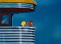 Im Vogelnest fühlt Jerry sich sicher vor Kater Tom.