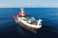 """Deutschlands größtes Forschungsschiff """"Sonne"""" sticht in See. Auf der mehrmonatigen Expedition werden - unter anderem - Offshore-Süßwasserreservoirs erforscht."""