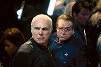 l-r: Saul Tigh (Michael Hogan), William Adama (Edward James Olmos)