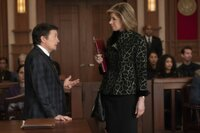 L-R: Louis Canning (Michael J. Fox) and Diane Lockhart (Christine Baranski)