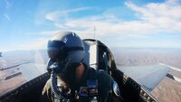 Aaron during a training flight with the fighter aircraft.
