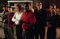 L-R: Matt Damon as Linus Caldwell, Scott Caan as Turk Malloy, George Clooney as Danny Ocean, Bernie Mac as Frank Catton, Elliott Gould as Reuben Tishkoff and Brad Pitt as Rusty Ryan.
