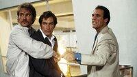 Der Drogenbaron Franz Sanchez (Robert Davi, r.) lässt James Bonds (Timothy Dalton, M.) besten Freund und frisch angetraute Ehefrau kaltblütig ermorden. Bond schwört auf Rache und begibt sich auf eine gefährliche Mission...